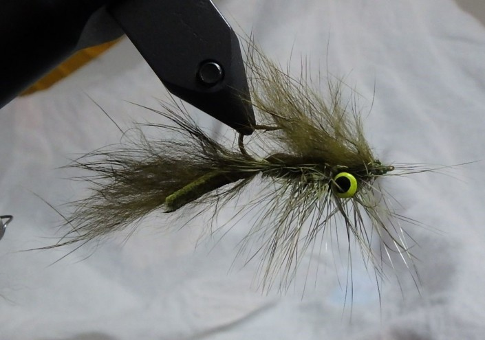 Olive sculpin, finished fly