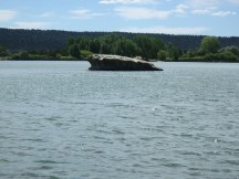 Rock shelf in the water at Lathrop State Park