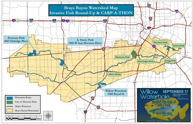 JPEG Brays Bayou Watershed Map for Carp-A-Thon