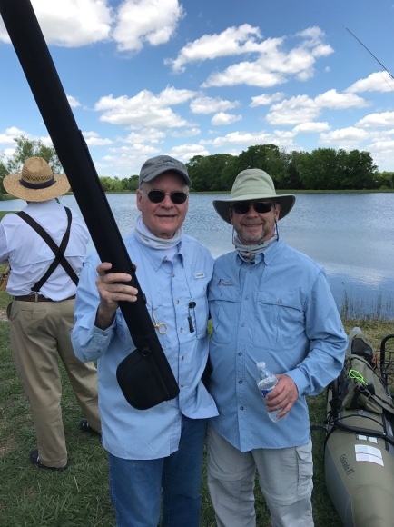 "David Cross is one of the newest members of TFF. This was his first time flyfishing. He won the ""door prize."" I think he is hooked. Paul"