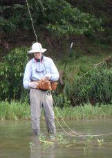 David landing a fish