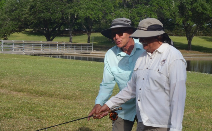 Texas FlyFishers fly fishing academy casting instruction clinic at the Meyer Park ponds