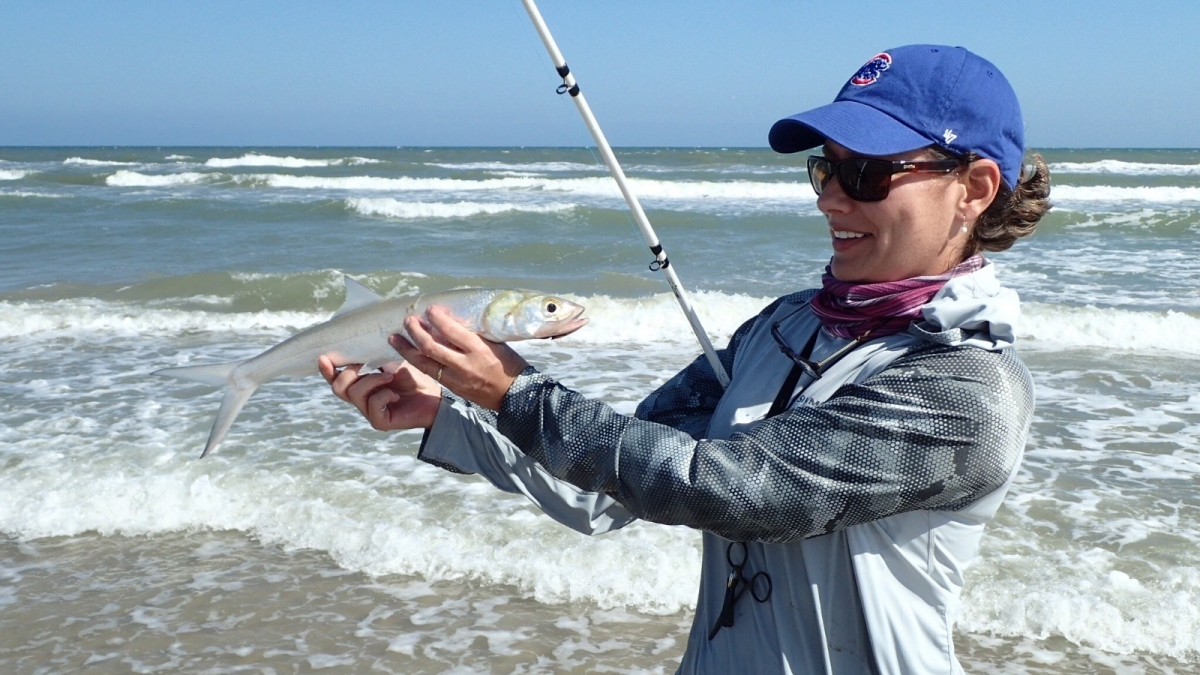 Danielle A admires her ladyfish caught during PINS 2017 outing